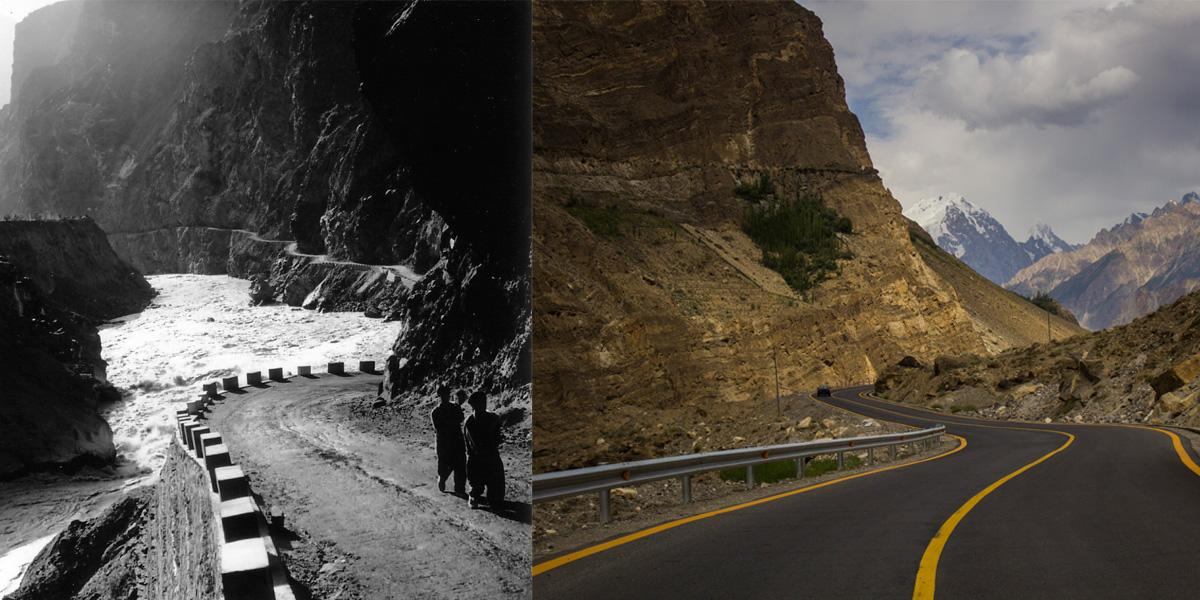 Karakoram Highway, once the passage of the old Silk Road, now developed for China's Belt and Road Initiative. Image on the left from 2001, on the right is a different section from 2014.