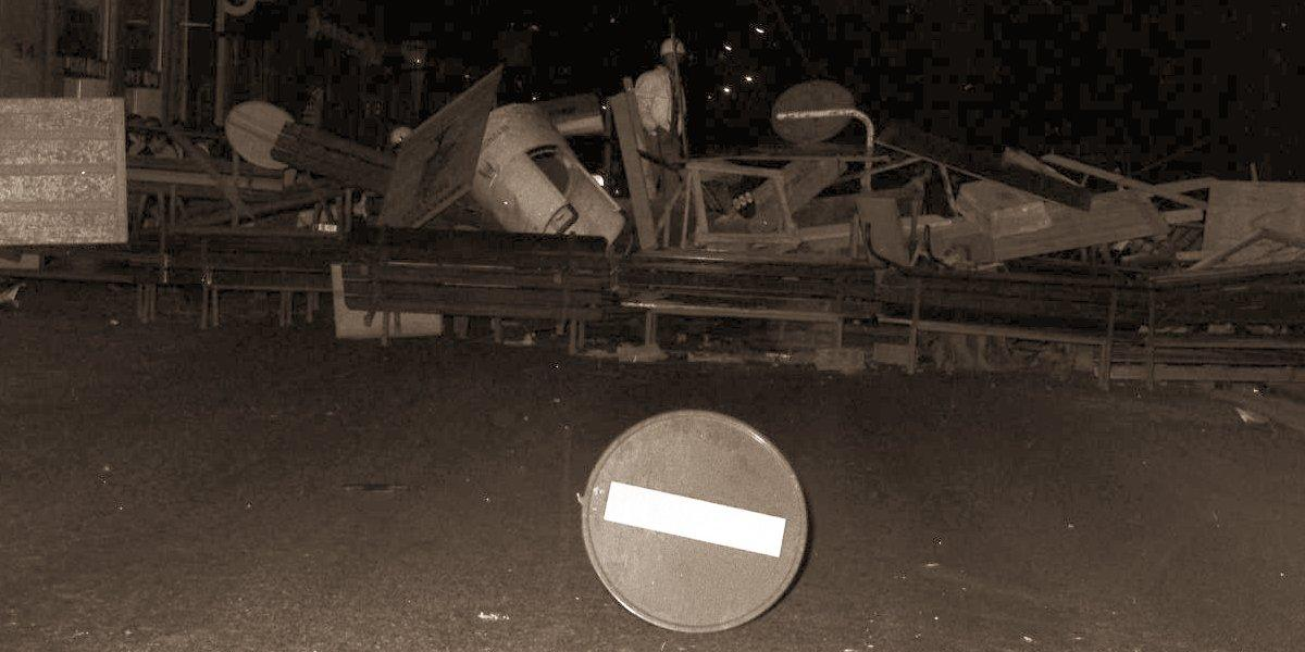Street barricade from June 1968 in Toulouse, France.