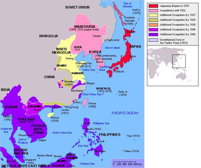 Japanese Empire, 1870 – 1942.