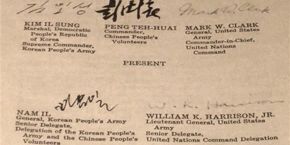 Korean War armistice document (1953), signatories from the Democratic People's Republic of Korea, the People's Republic of China, and the USA. The Republic of Korea (South Korea) did not participate.