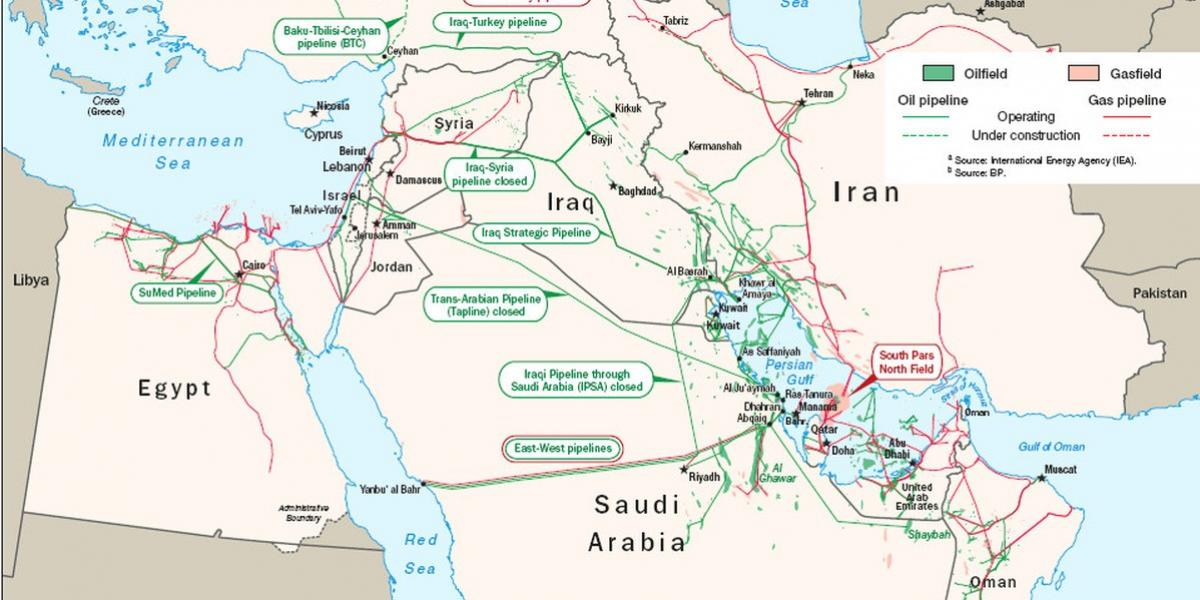 Map of selected oil and gas infrastructure in West Asia, by US Department of Energy.