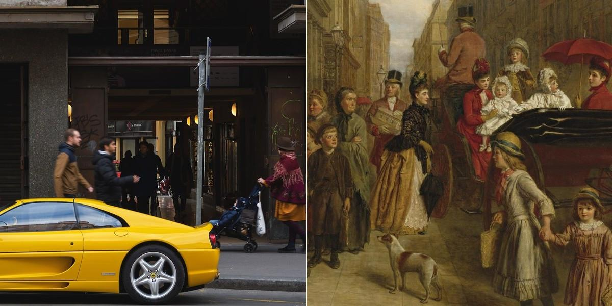 "Left panel of a yellow Ferrari (2017); Right panel painting by William Powell Frith, titled ""Poverty and Wealth"" (1888)."
