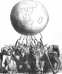 "The planet balanced by the bayonets of world powers. Illustrated by Honore Daumier, ""L'Equilibre Europea"" (1866)."