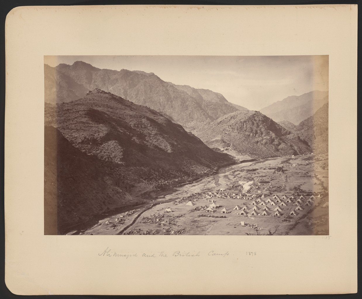 British military camp at the narrow part of the Khyber Pass during the Second Anglo-Afghan War of 1878-1880.