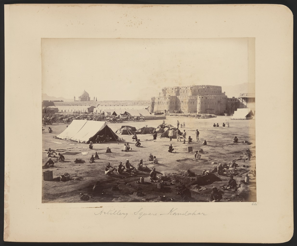 An encampment of British troops in Kandahar during the Second Anglo-Afghan War of 1878-1880.