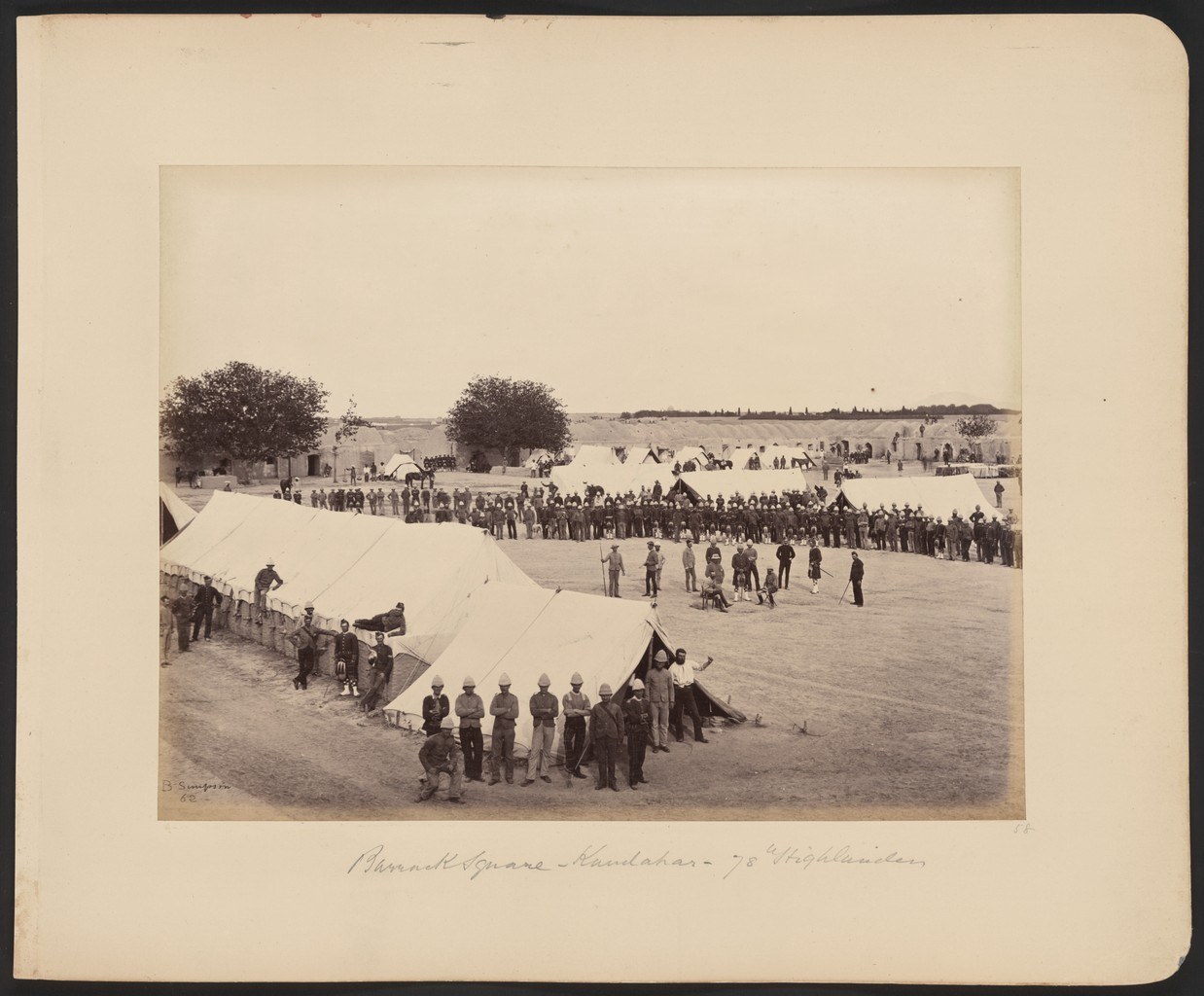 British soldiers from the 78th Highlanders encamped in Kandahar during the Second Anglo-Afghan War of 1878-1880.