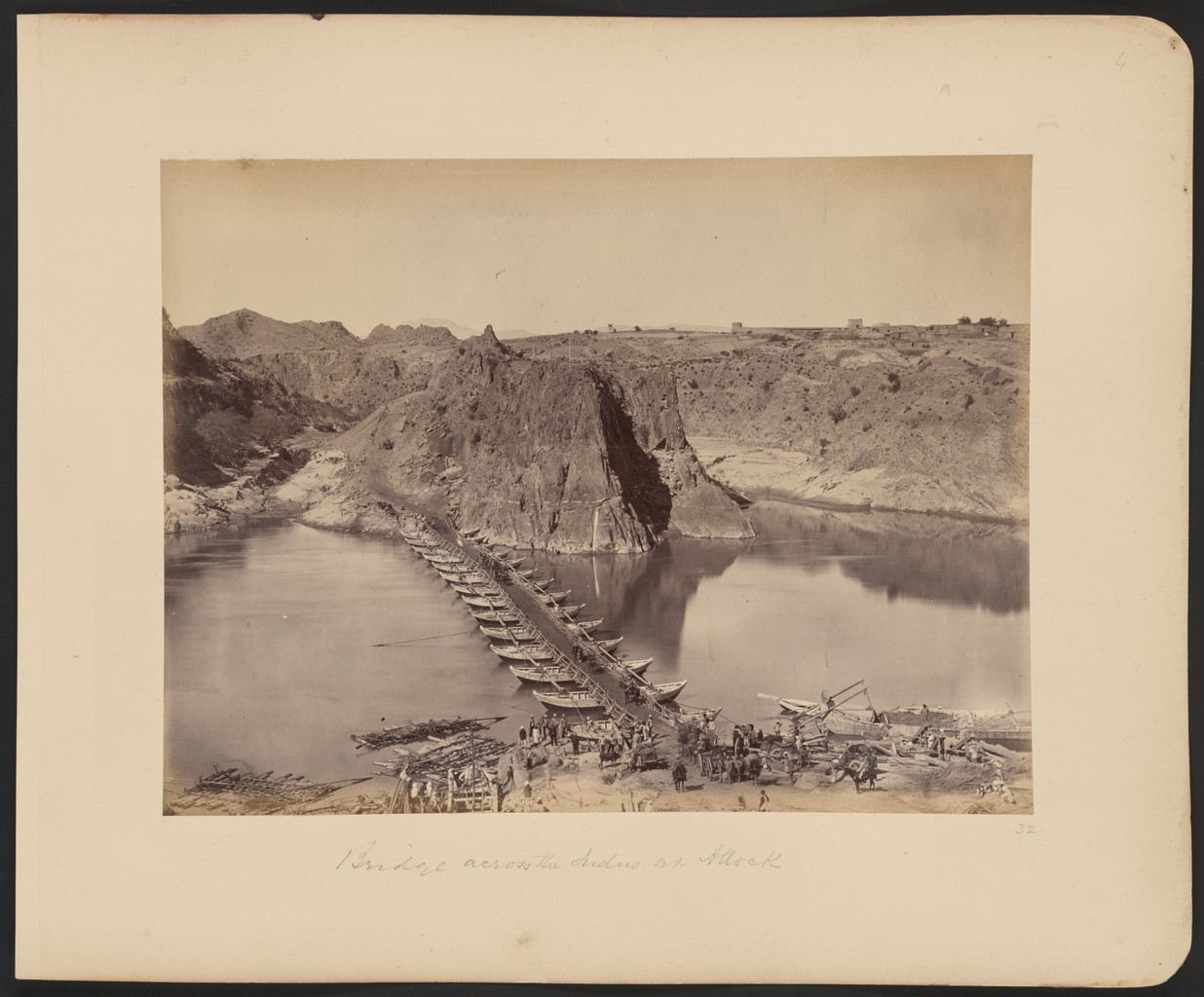 A pontoon bridge across the Indus River during the Second Anglo-Afghan War of 1878-1880.