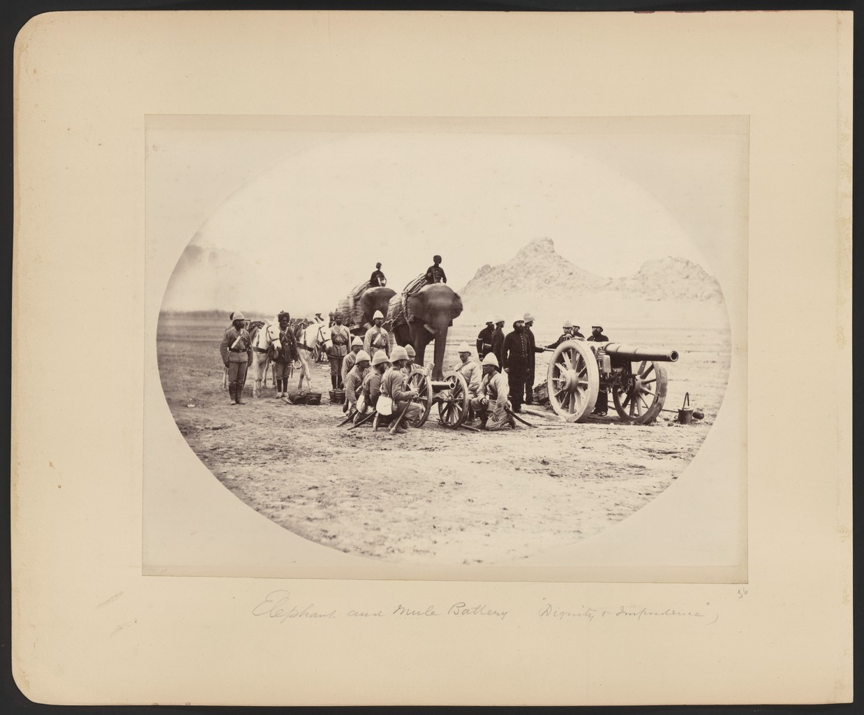 An elephant and mule artillery battery from the Second Anglo-Afghan War of 1878-1880.