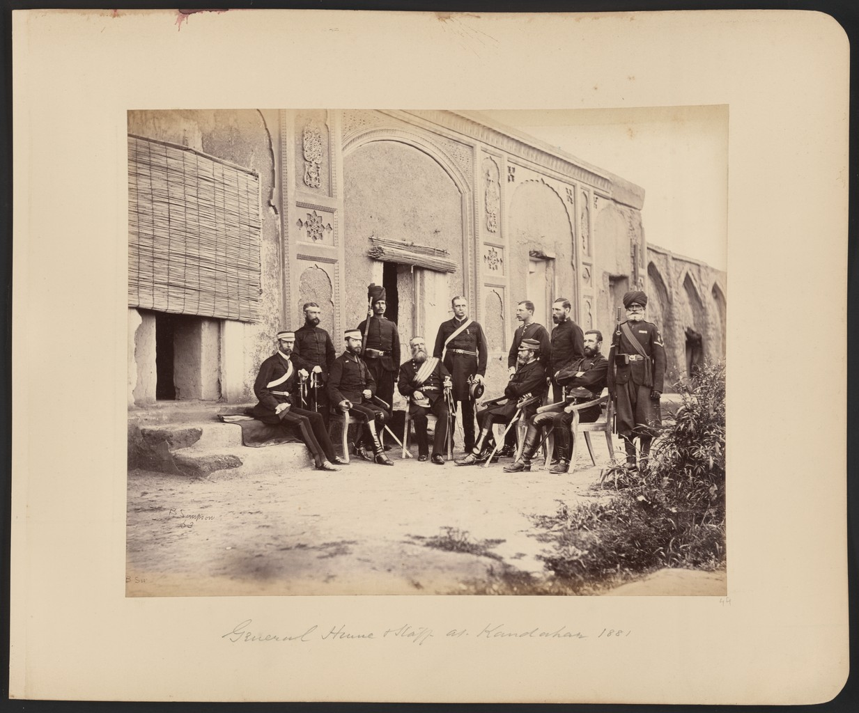 British general Hume and staff in defeated Kandahar, 1881.
