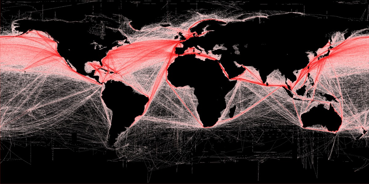 Shipping routes (2012).
