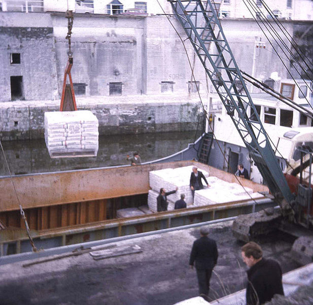General cargo ship being loaded (1973).