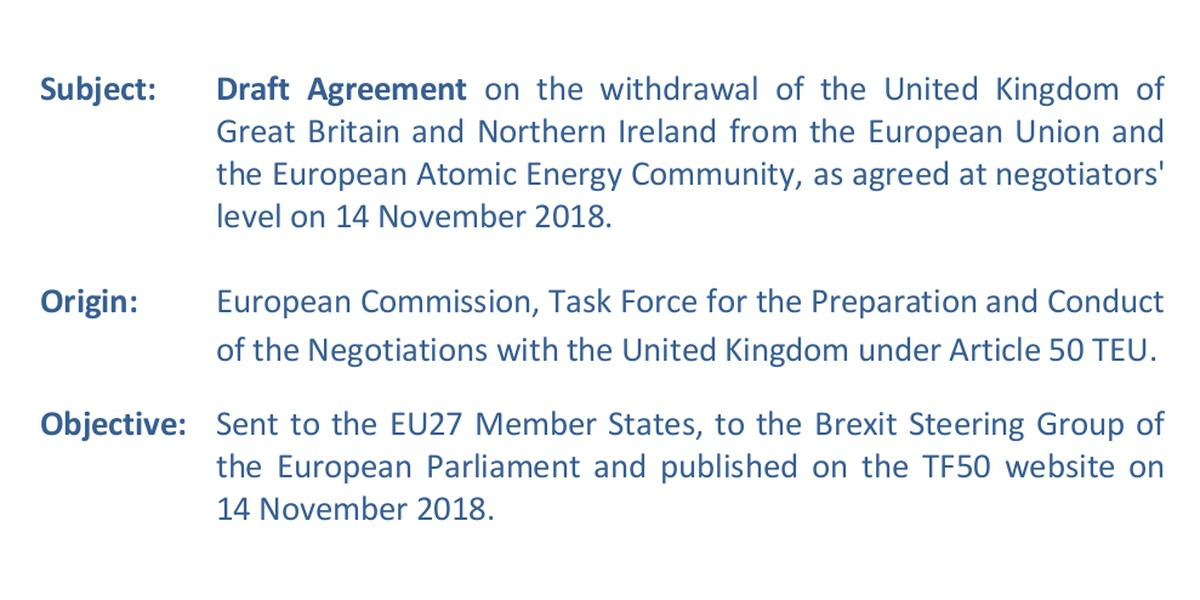 Brexit draft agreement 14 November 2018.
