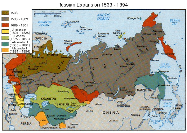 Map of Russia's expansion over time.