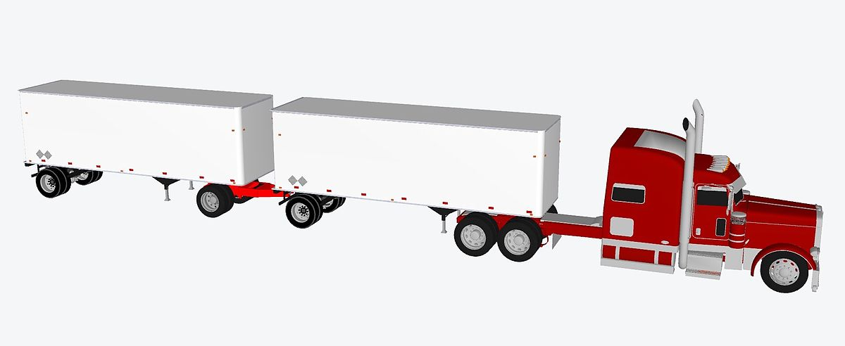 Container hauling by truck. 3D rendering.