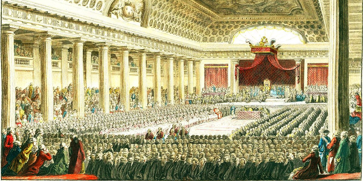 The representatives of France's social classes meeting the king at the Estates General of 5 May 1789, Versailles palace.