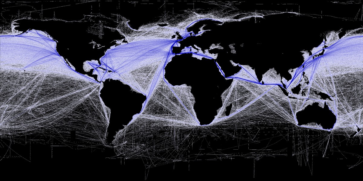 Density of commercial shipping.