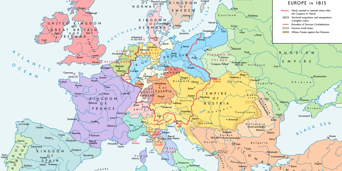 Map of Europe in 1815.