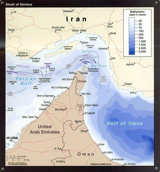 Strait of Hormuz Traffic Separation Scheme and Bathymetry