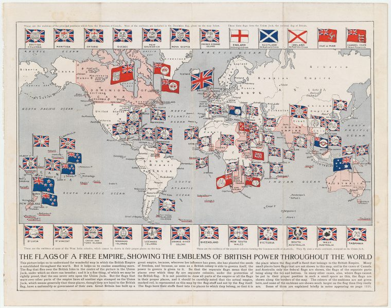 """The British Empire (1910), map claiming the """"Flags of a Free Empire"""""""