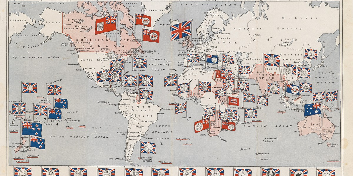 "The British Empire (1910), map claiming the ""Flags of a Free Empire"""
